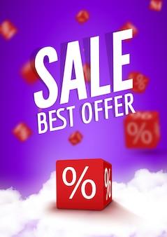 Boîtes de réduction 3d dés pour le marché et la boutique. vente meilleure offre affiche promotionnelle ou brochure