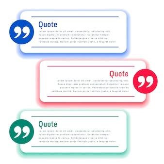 Boîtes de témoignage ou modèle de citations en trois couleurs