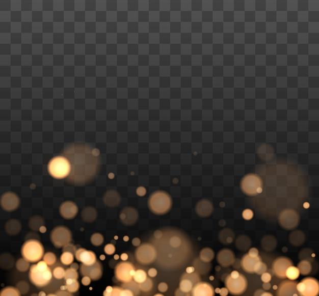 Bokeh brillant isolé sur fond transparent lumières de bokeh dorées avec des particules incandescentes
