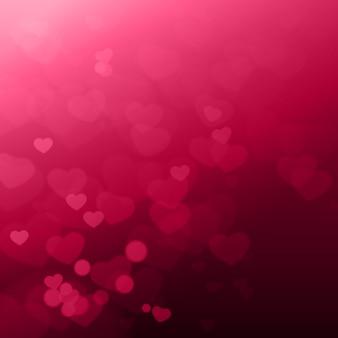 Bokeh coeurs brillants beau fond de la baie de la saint-valentin
