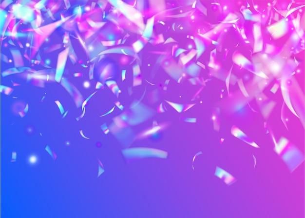 Bokeh confettis. paillettes arc-en-ciel. feuille surréaliste. explosion laser. texture de pépin. fond de fête violet. toile de fond colorée rétro. art de luxe. confettis bokeh bleus