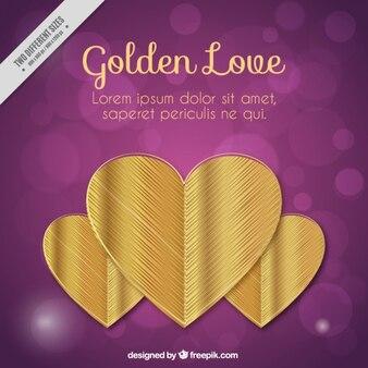 Bokeh fond avec des coeurs d'or