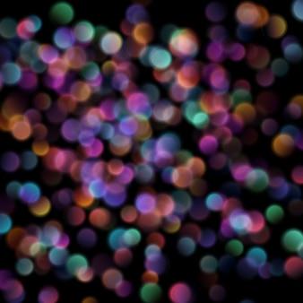 Bokeh lumières floues sur fond sombre.