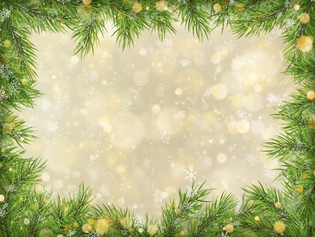 Bokeh de noël or avec fond de cadre de branches d'arbres.