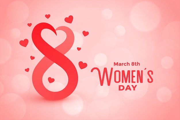 Bokeh Style Happy Womens Day Beau Fond Vecteur gratuit