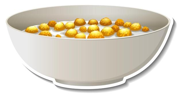 Un bol d'autocollant de céréales sur fond blanc