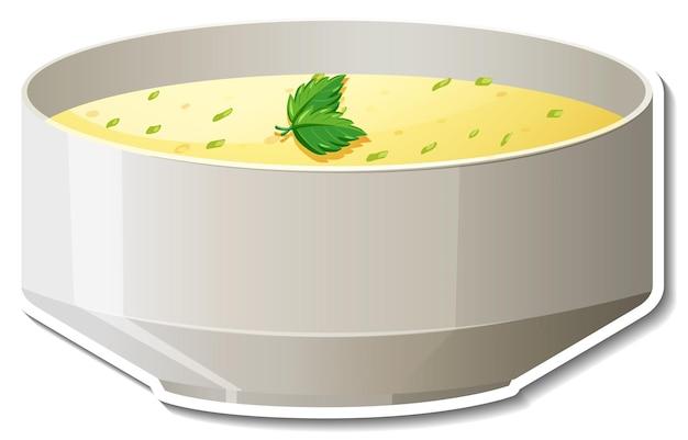 Bol d'autocollant de soupe sur fond blanc