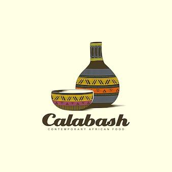 Bol de calebasse avec logo coloré bouteille d'eau