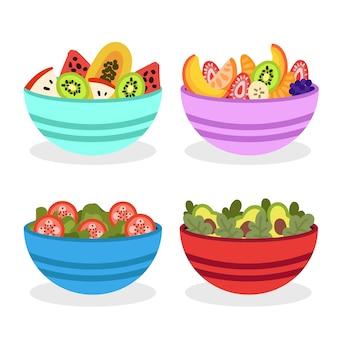 Bol coloré rempli de salade de fruits