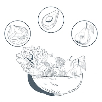 Bol avec des fruits et légumes dessiner à la main