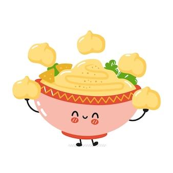 Un bol de houmous traditionnel amusant et mignon jongle avec des pois chiches. dessin animé plat kawaii