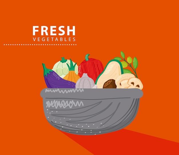 Bol avec illustration d'aliments sains de légumes frais