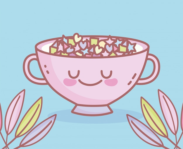 Bol avec menu de caractère de céréales restaurant nourriture de dessin animé mignon