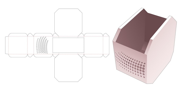 Bol octogonal avec gabarit de découpe de points de demi-teintes au pochoir