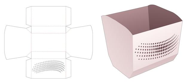 Bol de pop-corn avec modèle de découpe de points de demi-teintes au pochoir