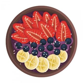 Bol de salade de fruits, aliments sains. style plat. petit déjeuner naturel avec banane, bleuets et fraises, vue de dessus.
