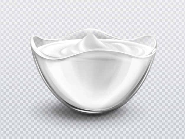 Bol avec sauce, crème. mayonnaise ou yaourt