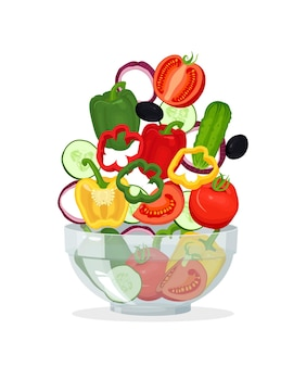 Bol en verre avec salade de légumes