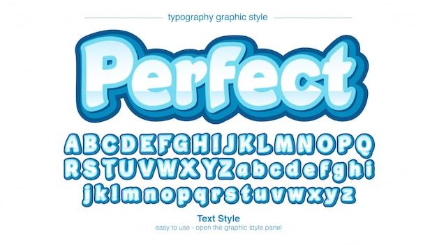 Bold blue 3d cartoonish sans serif typography