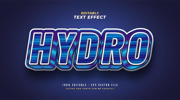 Bold hydro text en dégradé bleu avec effet en relief 3d. effet de style de texte modifiable