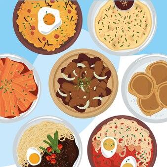 Bols avec de la nourriture coréenne