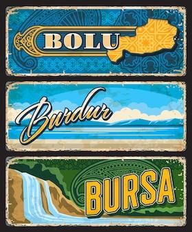 Bolu, burdur et bursa il, turquie provinces plaques ou bannières vintage