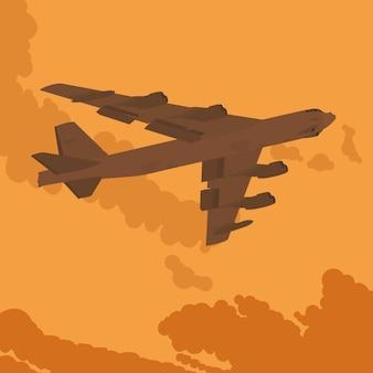 Bombardier lourd dans le ciel