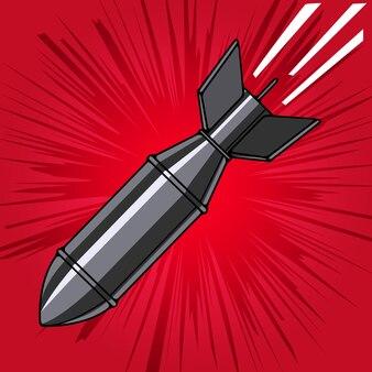 Bombe de dessin animé de style bande dessinée avec explosion. élément de design pour affiche, flyer.