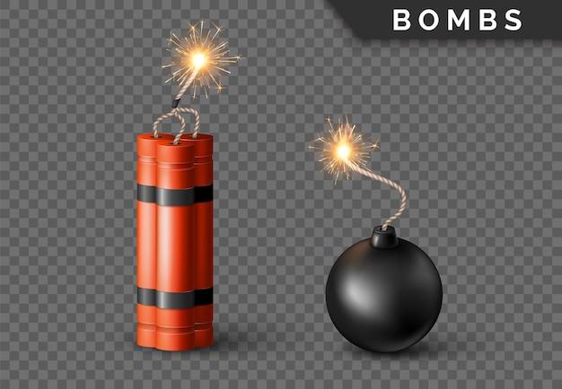 Bombe dynamite avec mèche brûlante et bombe sphère noire. arme rouge détonante militaire. illustration