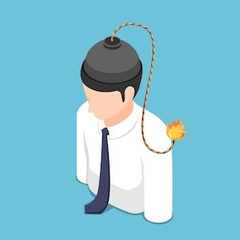 Bombe isométrique plate 3d avec fusible brûlant à l'intérieur de la tête d'homme d'affaires. concept de gestion de crise de problème de colère et de stress.