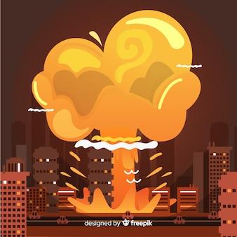 Bombe nucléaire dans le style de dessin animé de la ville