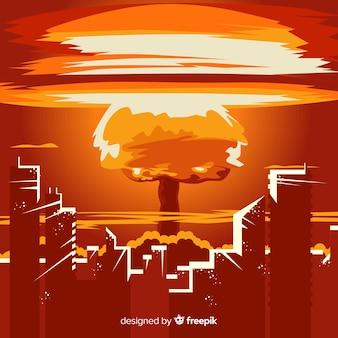 Bombe nucléaire plate dans une ville