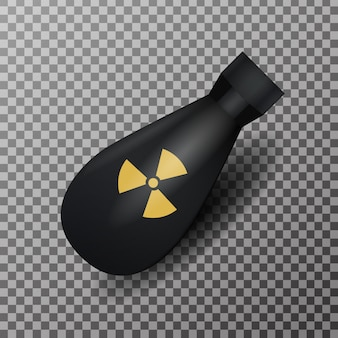 Bombe nucléaire réaliste oh le fond transparent. concept de guerre et de rayonnement.