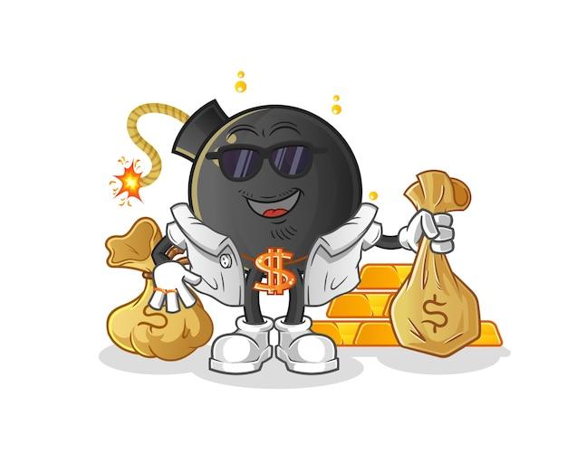 Bombe personnage riche. mascotte de dessin animé