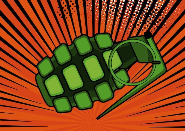 Bombe pop art sur illustration de fond de style rétro pop art comique