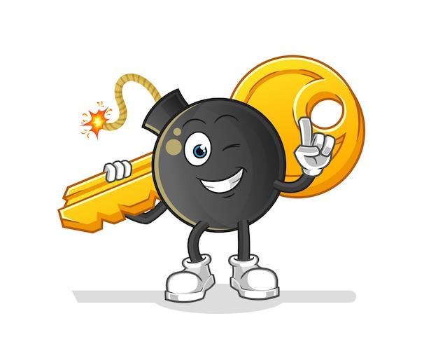 Bombe porte la mascotte clé. dessin animé