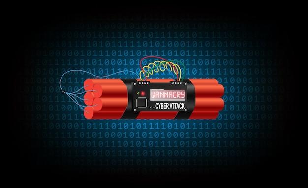 La bombe à retardement du virus wannacry fait partie du code binaire bleu