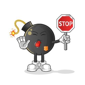 Bombe tenant dessin animé de panneau d'arrêt. mascotte de dessin animé
