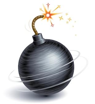 Bombe tournante avec fusible brûlant