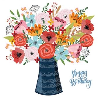 Bon anniversaire. dessin à la main floral, vase avec des fleurs,
