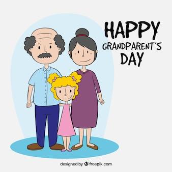 Bon anniversaire des grands-parents avec une fille