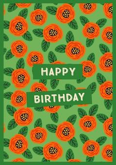 Bon anniversaire. illustration vectorielle avec de jolies fleurs.