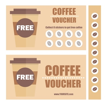 Un bon cadeau café ou un bon de réduction. modèle de bon plat de vecteur. coupons de promotion avec autocollants