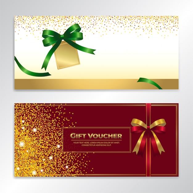 Bon cadeau, certificat, coupon de paillettes d'or pour les fêtes
