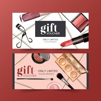 Bon cadeau cosmétique serti de recourbe-cils, rouge à lèvres