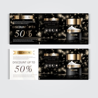 Bon cadeau crème visage hydratante pour vente annuelle ou vente festival masque crème noir et or