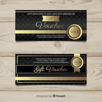 Bon cadeau élégant avec style doré