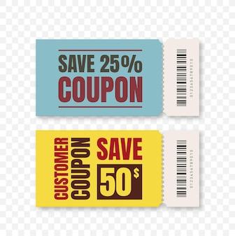 Bon-cadeau isolé de remise de coupon de vecteur pour l'ensemble des affaires de coupons promotionnels