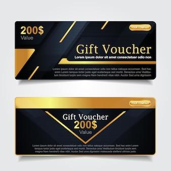 Bon cadeau de luxe avec décoration élément or
