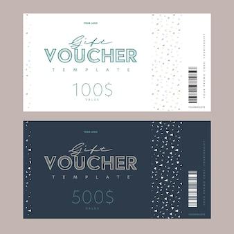 Bon cadeau monétaire, ensemble de modèles de cartes de code promotionnel numérique.
